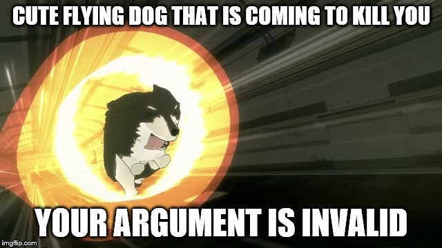 rwby | CUTE FLYING DOG THAT IS COMING TO KILL YOU YOUR ARGUMENT IS INVALID | image tagged in rwby | made w/ Imgflip meme maker