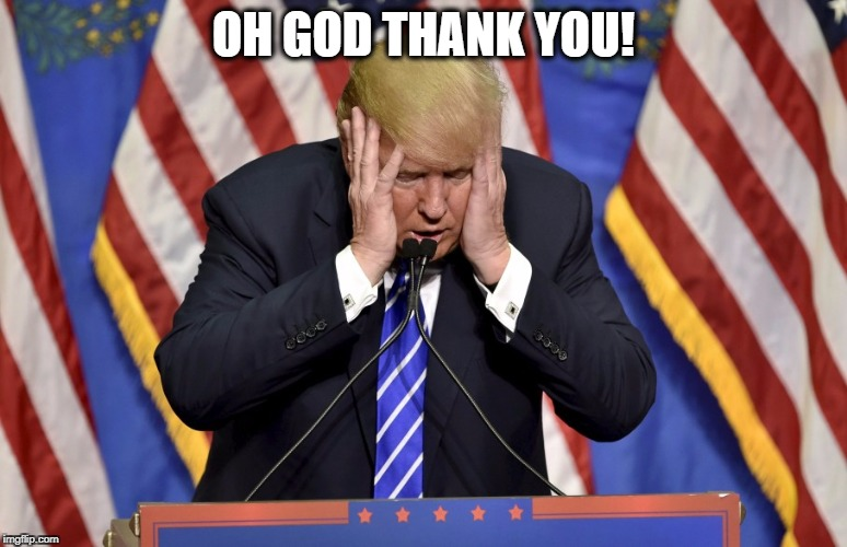 Cry baby Trump | OH GOD THANK YOU! | image tagged in cry baby trump | made w/ Imgflip meme maker
