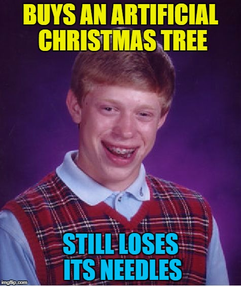 It could only happen to him... :) | BUYS AN ARTIFICIAL CHRISTMAS TREE STILL LOSES ITS NEEDLES | image tagged in memes,bad luck brian,christmas,christmas tree | made w/ Imgflip meme maker