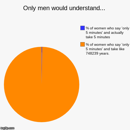 Only men would understand... | % of women who say 'only 5 minutes' and take like 748239 years., % of women who say 'only 5 minutes' and actu | image tagged in funny,pie charts | made w/ Imgflip pie chart maker