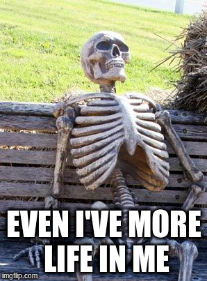 Waiting Skeleton Meme | EVEN I'VE MORE LIFE IN ME | image tagged in memes,waiting skeleton | made w/ Imgflip meme maker