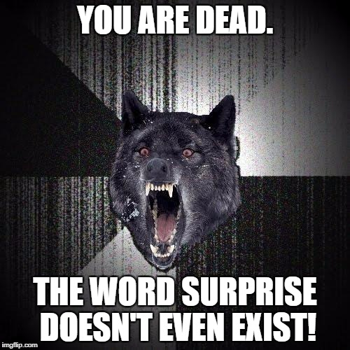 TF2 Anyone? | YOU ARE DEAD. THE WORD SURPRISE DOESN'T EVEN EXIST! | image tagged in memes,insanity wolf | made w/ Imgflip meme maker