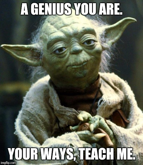 Star Wars Yoda Meme | A GENIUS YOU ARE. YOUR WAYS, TEACH ME. | image tagged in memes,star wars yoda | made w/ Imgflip meme maker