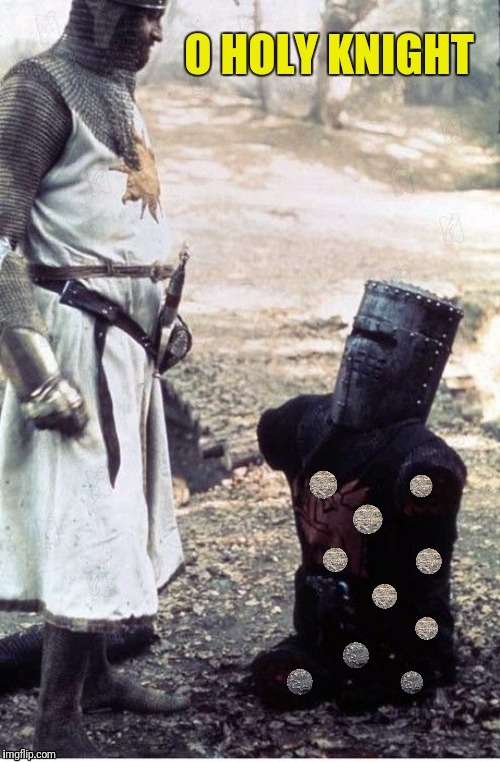 Have a merry Christmas or I'll bite your legs off! | HOLY | image tagged in o holy night,monty python and the holy grail,monty python black knight,holy | made w/ Imgflip meme maker