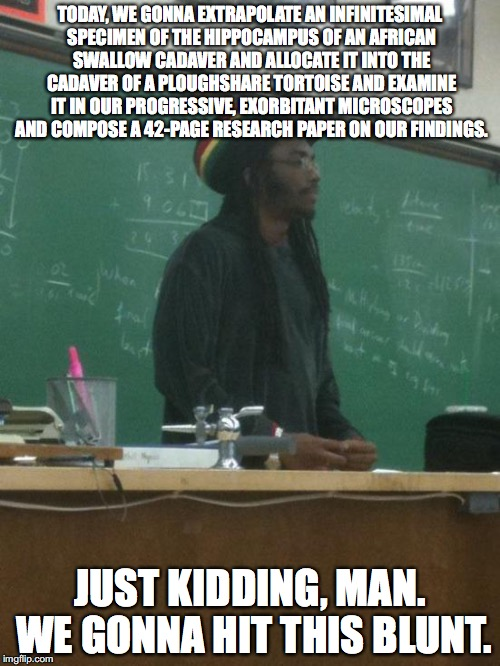 Rasta Science Teacher | TODAY, WE GONNA EXTRAPOLATE AN INFINITESIMAL SPECIMEN OF THE HIPPOCAMPUS OF AN AFRICAN SWALLOW CADAVER AND ALLOCATE IT INTO THE CADAVER OF A | image tagged in memes,rasta science teacher | made w/ Imgflip meme maker