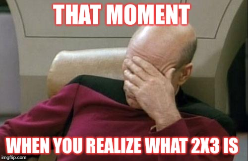 Captain Picard Facepalm Meme | THAT MOMENT WHEN YOU REALIZE WHAT 2X3 IS | image tagged in memes,captain picard facepalm | made w/ Imgflip meme maker