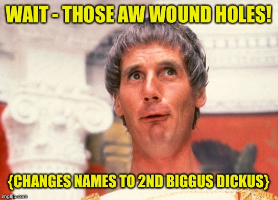WAIT - THOSE AW WOUND HOLES! {CHANGES NAMES TO 2ND BIGGUS DICKUS} | made w/ Imgflip meme maker