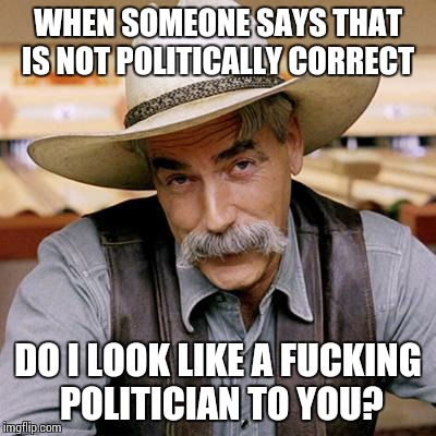 SARCASM COWBOY | WHEN SOMEONE SAYS THAT IS NOT POLITICALLY CORRECT DO I LOOK LIKE A F**KING POLITICIAN TO YOU? | image tagged in sarcasm cowboy | made w/ Imgflip meme maker