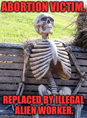 Waiting Skeleton Meme | ABORTION VICTIM. REPLACED BY ILLEGAL ALIEN WORKER. | image tagged in memes,waiting skeleton | made w/ Imgflip meme maker
