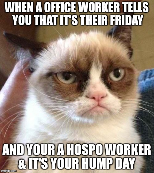 Grumpy Cat Reverse | WHEN A OFFICE WORKER TELLS YOU THAT IT'S THEIR FRIDAY AND YOUR A HOSPO WORKER & IT'S YOUR HUMP DAY | image tagged in memes,grumpy cat reverse,grumpy cat | made w/ Imgflip meme maker