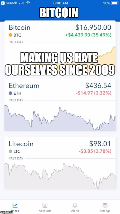 bitcoin | BITCOIN MAKING US HATE OURSELVES SINCE 2009 | image tagged in bitcoin,hate | made w/ Imgflip meme maker
