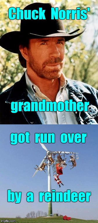 Chuck Norris' Grandmother Got Run Over by a Reindeer | Chuck  Norris' grandmother got  run  over by  a  reindeer | image tagged in memes,chuck norris,santa,reindeer,sleigh,christmas | made w/ Imgflip meme maker