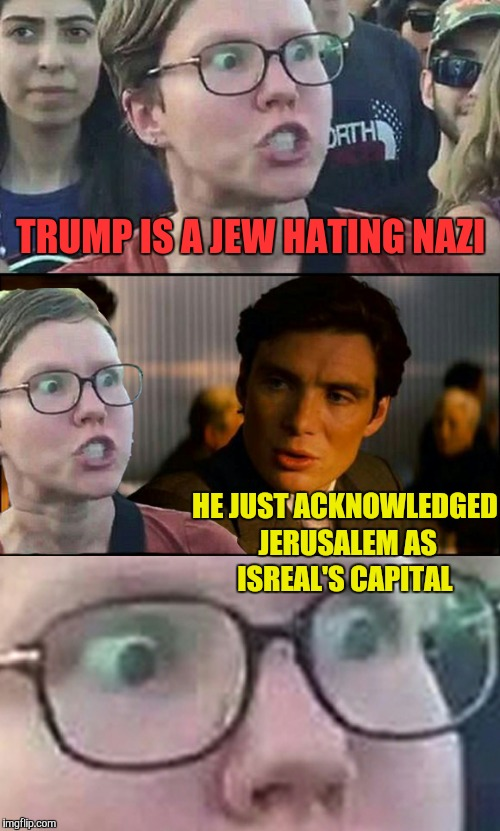 Let's see them explain this one | TRUMP IS A JEW HATING NAZI HE JUST ACKNOWLEDGED JERUSALEM AS ISREAL'S CAPITAL | image tagged in inception liberal,donald trump,trump,memes,jews,jerusalem | made w/ Imgflip meme maker