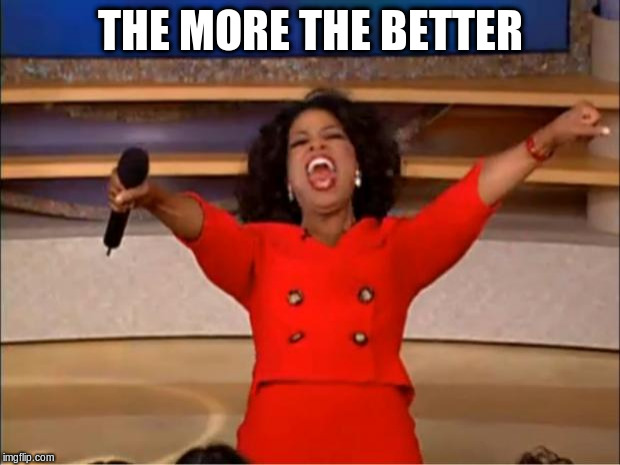 Oprah You Get A Meme | THE MORE THE BETTER | image tagged in memes,oprah you get a | made w/ Imgflip meme maker