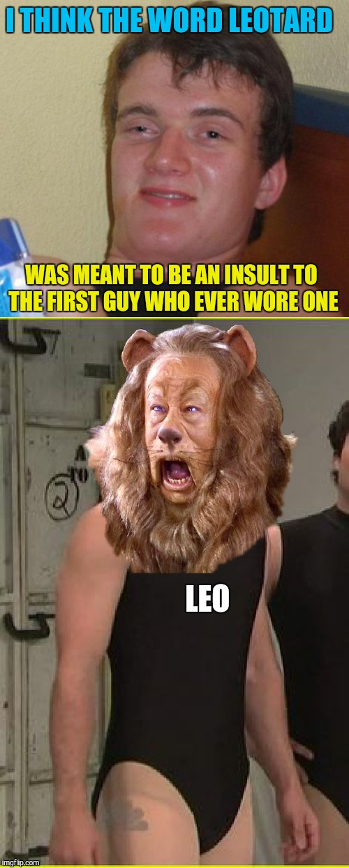 I think he just now figured it out  | I THINK THE WORD LEOTARD LEO WAS MEANT TO BE AN INSULT TO THE FIRST GUY WHO EVER WORE ONE | image tagged in memes,leotard,lion,cowardly lion,10 guy,funny | made w/ Imgflip meme maker