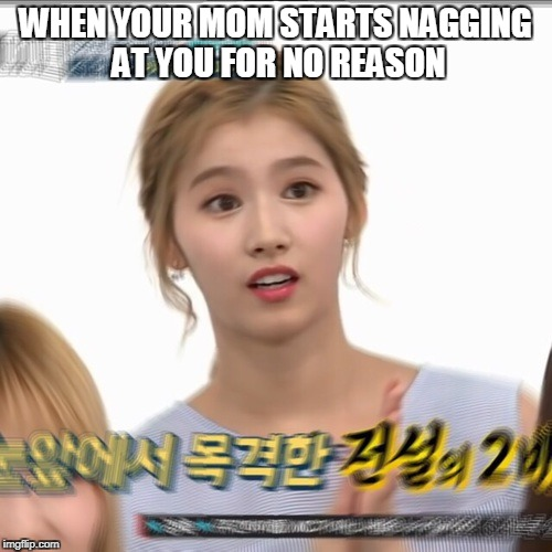when ur mom starts nagging at u for no reason -_- | WHEN YOUR MOM STARTS NAGGING AT YOU FOR NO REASON | image tagged in kpop_memes,twicememes | made w/ Imgflip meme maker