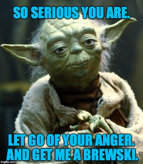 Star Wars Yoda Meme | SO SERIOUS YOU ARE. LET GO OF YOUR ANGER. AND GET ME A BREWSKI. | image tagged in memes,star wars yoda | made w/ Imgflip meme maker