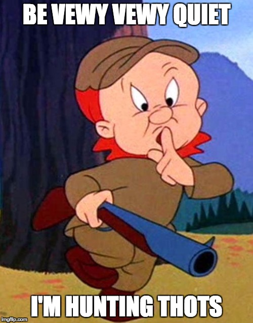 Elmer Fudd | BE VEWY VEWY QUIET I'M HUNTING THOTS | image tagged in elmer fudd | made w/ Imgflip meme maker