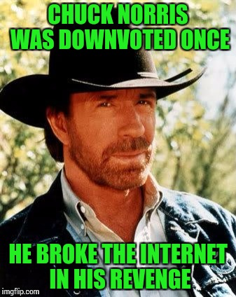 Roundhouse the Downvote - Down with the Downvote Weekend - A let the Mods know event | CHUCK NORRIS WAS DOWNVOTED ONCE HE BROKE THE INTERNET IN HIS REVENGE | image tagged in downvote weekend,pipe_picasso,isayisay,jbmemegeek,1forpeace | made w/ Imgflip meme maker