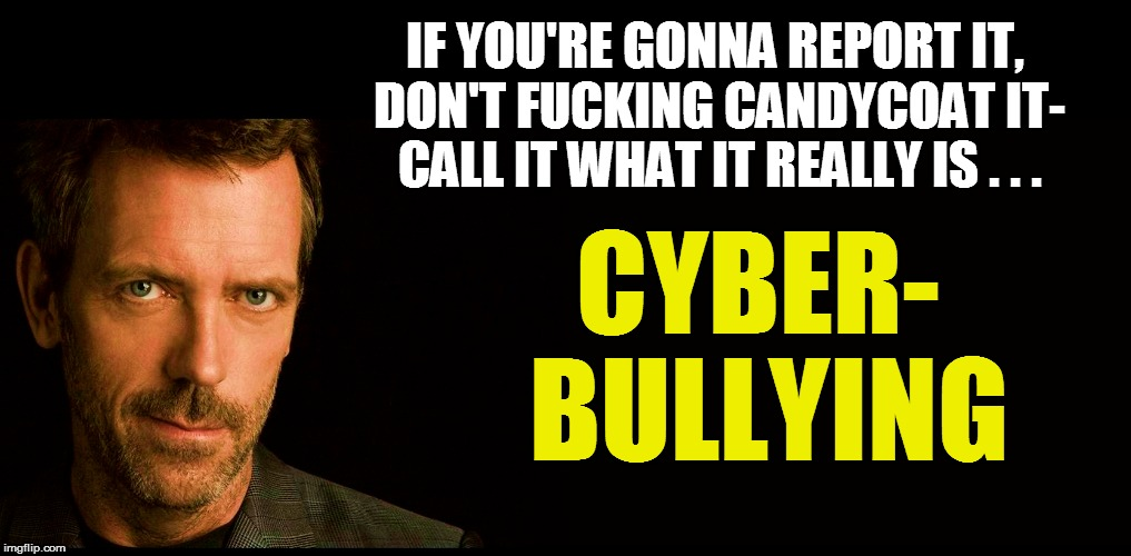 IF YOU'RE GONNA REPORT IT, DON'T F**KING CANDYCOAT IT- CALL IT WHAT IT REALLY IS . . . CYBER- BULLYING | made w/ Imgflip meme maker