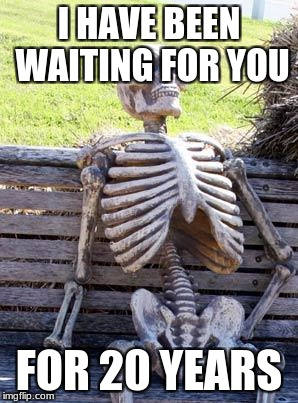 Waiting Skeleton Meme | I HAVE BEEN WAITING FOR YOU FOR 20 YEARS | image tagged in memes,waiting skeleton | made w/ Imgflip meme maker