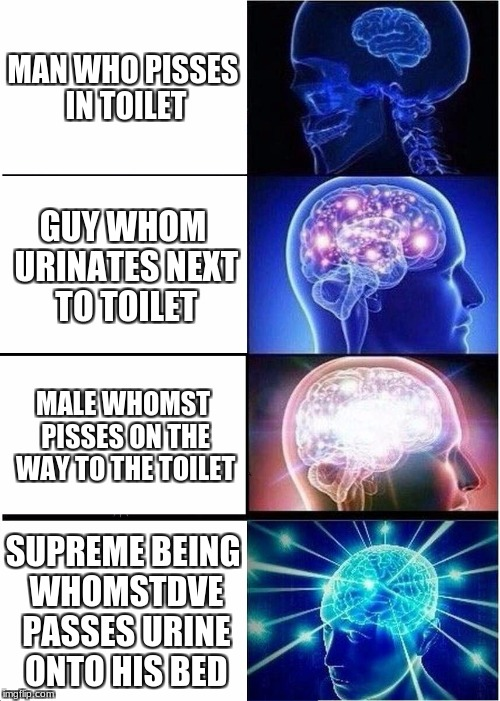 Expanding Brain Meme | MAN WHO PISSES IN TOILET GUY WHOM URINATES NEXT TO TOILET MALE WHOMST PISSES ON THE WAY TO THE TOILET SUPREME BEING WHOMSTDVE PASSES URINE O | image tagged in memes,expanding brain | made w/ Imgflip meme maker