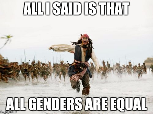 Jack Sparrow Being Chased Meme | ALL I SAID IS THAT ALL GENDERS ARE EQUAL | image tagged in memes,jack sparrow being chased | made w/ Imgflip meme maker