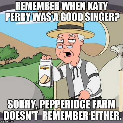 Pepperidge Farm Remembers Meme | REMEMBER WHEN KATY PERRY WAS A GOOD SINGER? SORRY, PEPPERIDGE FARM DOESN'T  REMEMBER EITHER. | image tagged in memes,pepperidge farm remembers | made w/ Imgflip meme maker