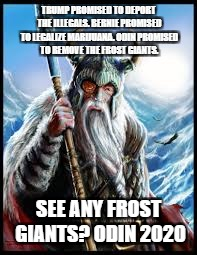 TRUMP PROMISED TO DEPORT THE ILLEGALS. BERNIE PROMISED TO LEGALIZE MARIJUANA. ODIN PROMISED TO REMOVE THE FROST GIANTS. SEE ANY FROST GIANTS | image tagged in political humor | made w/ Imgflip meme maker