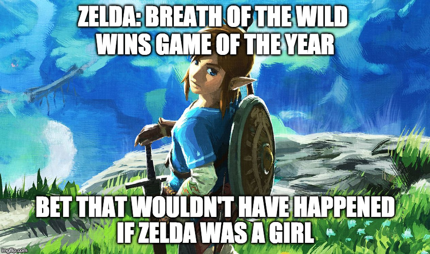 ;) | ZELDA: BREATH OF THE WILD BET THAT WOULDN'T HAVE HAPPENED IF ZELDA WAS A GIRL WINS GAME OF THE YEAR | image tagged in link,troll,zelda,was a girl,breath of the wild,goty | made w/ Imgflip meme maker