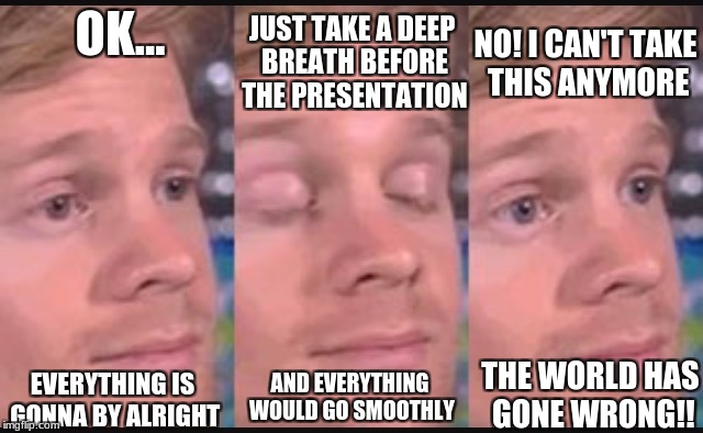 Blinking guy | OK... JUST TAKE A DEEP BREATH BEFORE THE PRESENTATION NO! I CAN'T TAKE THIS ANYMORE EVERYTHING IS GONNA BY ALRIGHT AND EVERYTHING WOULD GO S | image tagged in blinking guy | made w/ Imgflip meme maker
