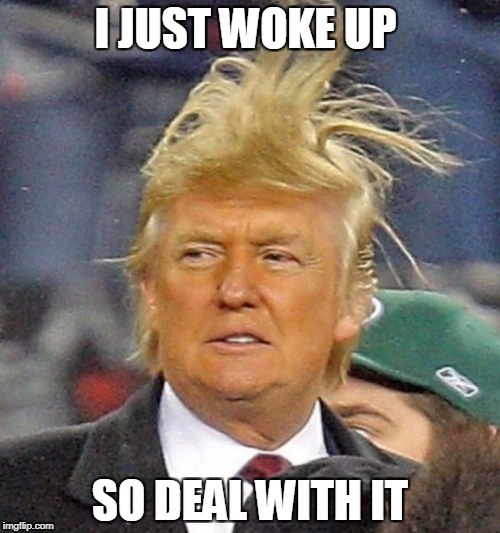 I JUST WOKE UP SO DEAL WITH IT | image tagged in trump | made w/ Imgflip meme maker