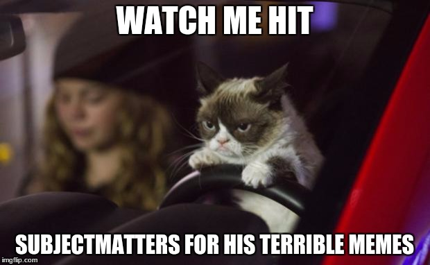 Grumpy Cat Driving | WATCH ME HIT SUBJECTMATTERS FOR HIS TERRIBLE MEMES | image tagged in grumpy cat driving | made w/ Imgflip meme maker