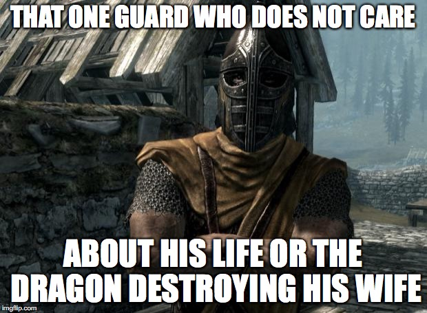 Skyrim guards be like | THAT ONE GUARD WHO DOES NOT CARE ABOUT HIS LIFE OR THE DRAGON DESTROYING HIS WIFE | image tagged in skyrim guards be like | made w/ Imgflip meme maker