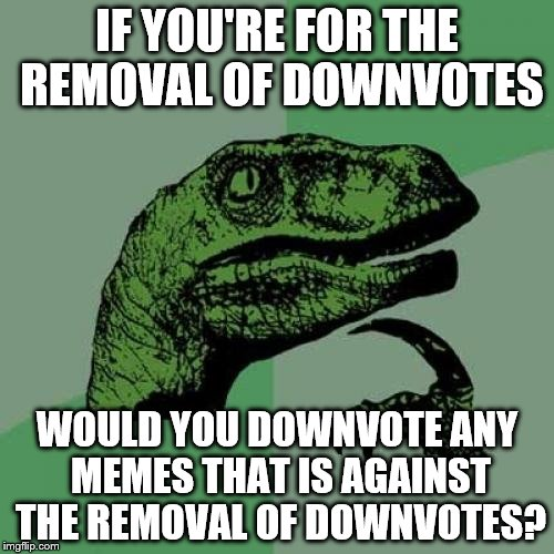 Hopefully not! Down with Downvotes weekend, (Dec 8-10th), a campaign led by the great isayisay | IF YOU'RE FOR THE REMOVAL OF DOWNVOTES WOULD YOU DOWNVOTE ANY MEMES THAT IS AGAINST THE REMOVAL OF DOWNVOTES? | image tagged in memes,philosoraptor,down with downvotes weekend,inferno390,downvote | made w/ Imgflip meme maker