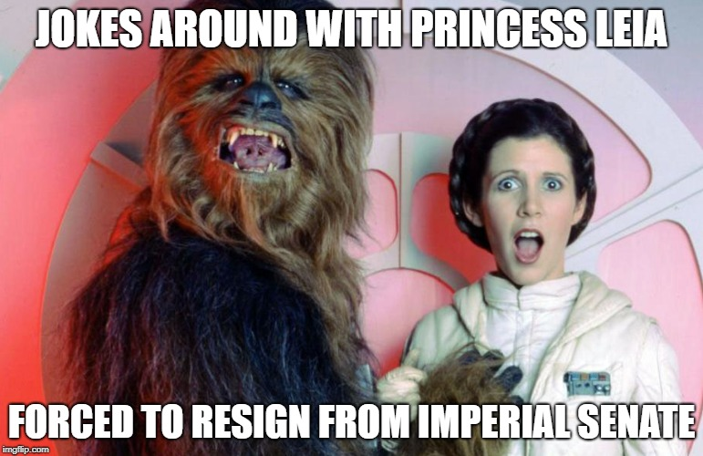 Chewbacca fired from Senate! | JOKES AROUND WITH PRINCESS LEIA FORCED TO RESIGN FROM IMPERIAL SENATE | image tagged in star wars | made w/ Imgflip meme maker