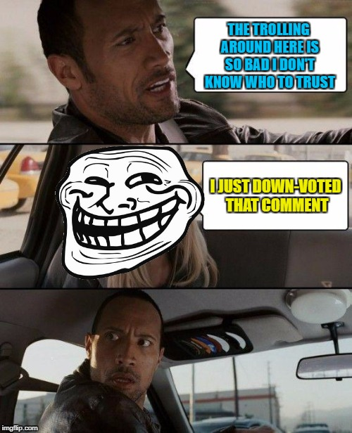 The Rock Driving Meme | THE TROLLING AROUND HERE IS SO BAD I DON'T KNOW WHO TO TRUST I JUST DOWN-VOTED THAT COMMENT | image tagged in memes,the rock driving | made w/ Imgflip meme maker