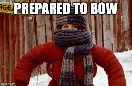 PREPARED TO BOW | image tagged in randy christmas story | made w/ Imgflip meme maker