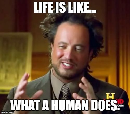 Ancient Aliens Meme | LIFE IS LIKE... WHAT A HUMAN DOES. | image tagged in memes,ancient aliens | made w/ Imgflip meme maker
