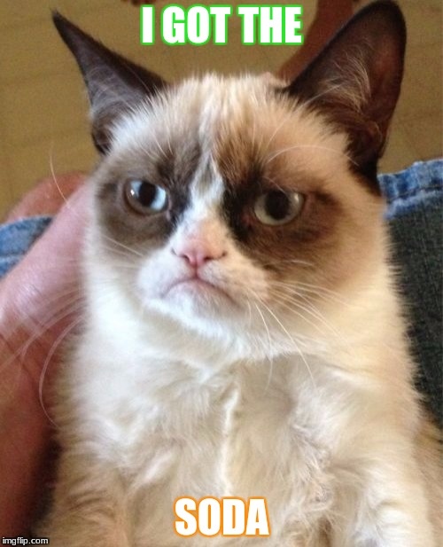 Grumpy Cat Meme | I GOT THE SODA | image tagged in memes,grumpy cat | made w/ Imgflip meme maker