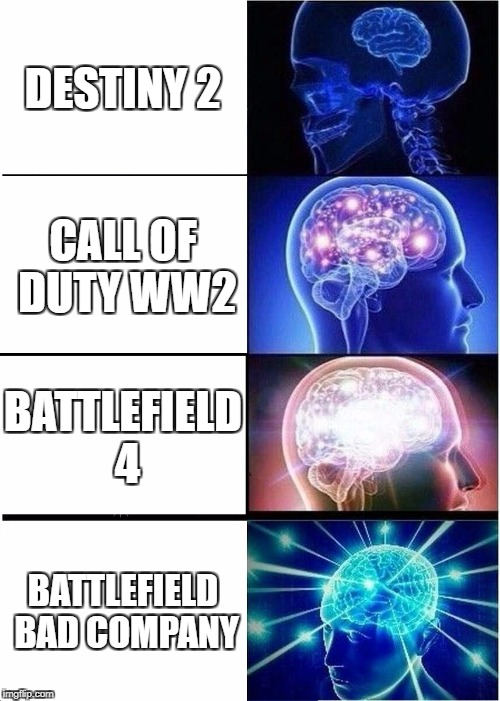 Expanding Brain Meme | DESTINY 2 CALL OF DUTY WW2 BATTLEFIELD 4 BATTLEFIELD BAD COMPANY | image tagged in memes,expanding brain | made w/ Imgflip meme maker
