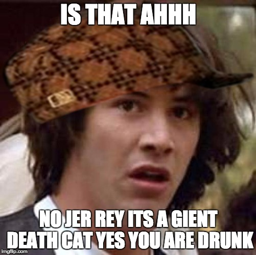 Conspiracy Keanu Meme | IS THAT AHHH NO JER REY ITS A GIENT DEATH CAT YES YOU ARE DRUNK | image tagged in memes,conspiracy keanu,scumbag | made w/ Imgflip meme maker