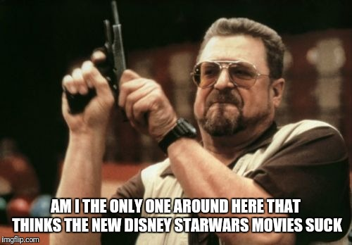 Am I The Only One Around Here Meme | AM I THE ONLY ONE AROUND HERE THAT THINKS THE NEW DISNEY STARWARS MOVIES SUCK | image tagged in memes,am i the only one around here | made w/ Imgflip meme maker