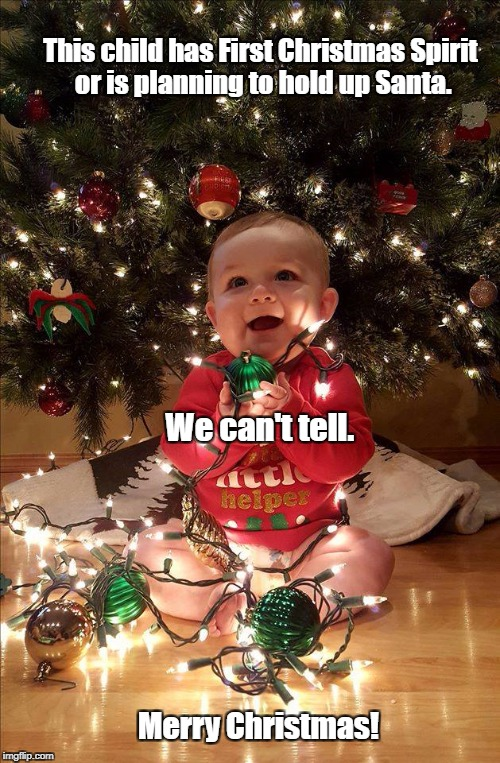 Christmas Baby | This child has First Christmas Spirit or is planning to hold up Santa. Merry Christmas! We can't tell. | image tagged in christmas baby | made w/ Imgflip meme maker