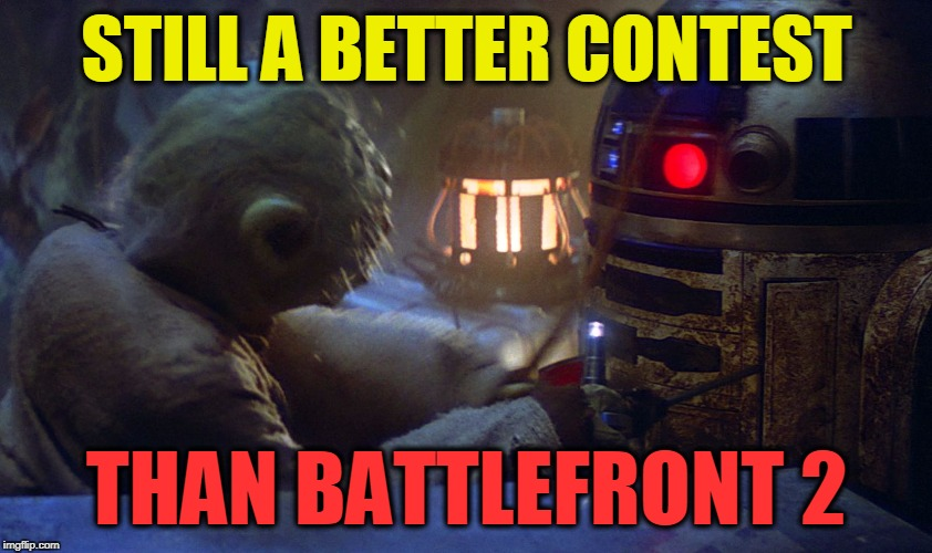 STILL A BETTER CONTEST THAN BATTLEFRONT 2 | image tagged in yoda fight | made w/ Imgflip meme maker