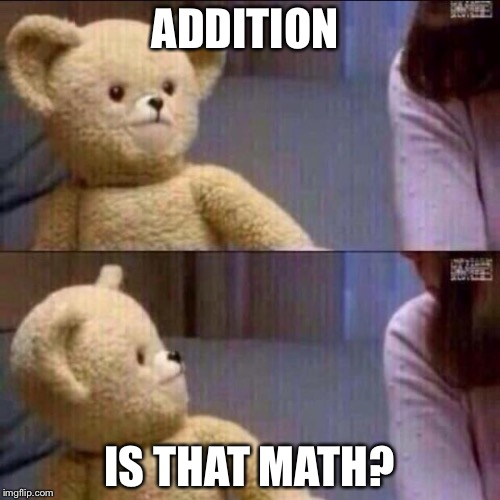 What is that math I'm so stupid about addition! | ADDITION IS THAT MATH? | image tagged in teddy bear | made w/ Imgflip meme maker