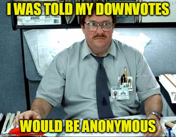 Down With Downvotes Weekend Dec 8-10, a campaign by fun loving memers | I WAS TOLD MY DOWNVOTES WOULD BE ANONYMOUS | image tagged in memes,i was told there would be | made w/ Imgflip meme maker