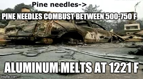Magic is the illusion of reality. Thank you-thank you very much! | PINE NEEDLES COMBUST BETWEEN 500-750 F ALUMINUM MELTS AT 1221 F | image tagged in illusion,fire,justjeff | made w/ Imgflip meme maker
