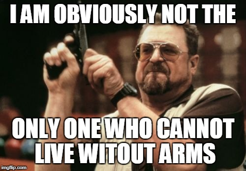 Am I The Only One Around Here Meme | I AM OBVIOUSLY NOT THE ONLY ONE WHO CANNOT LIVE WITOUT ARMS | image tagged in memes,am i the only one around here | made w/ Imgflip meme maker