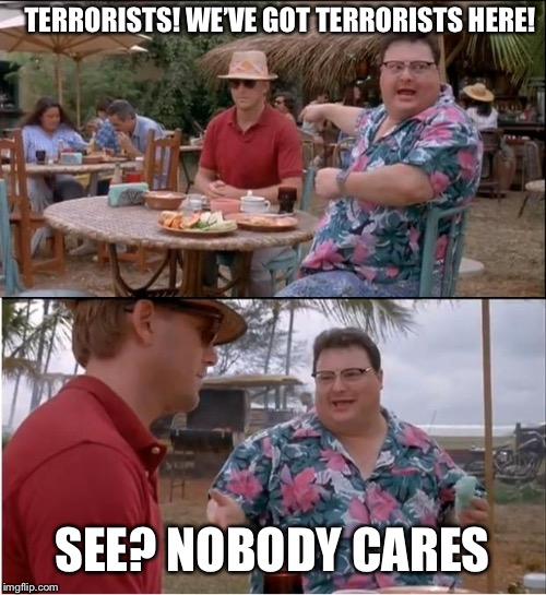 See Nobody Cares Meme | TERRORISTS! WE'VE GOT TERRORISTS HERE! SEE? NOBODY CARES | image tagged in memes,see nobody cares | made w/ Imgflip meme maker